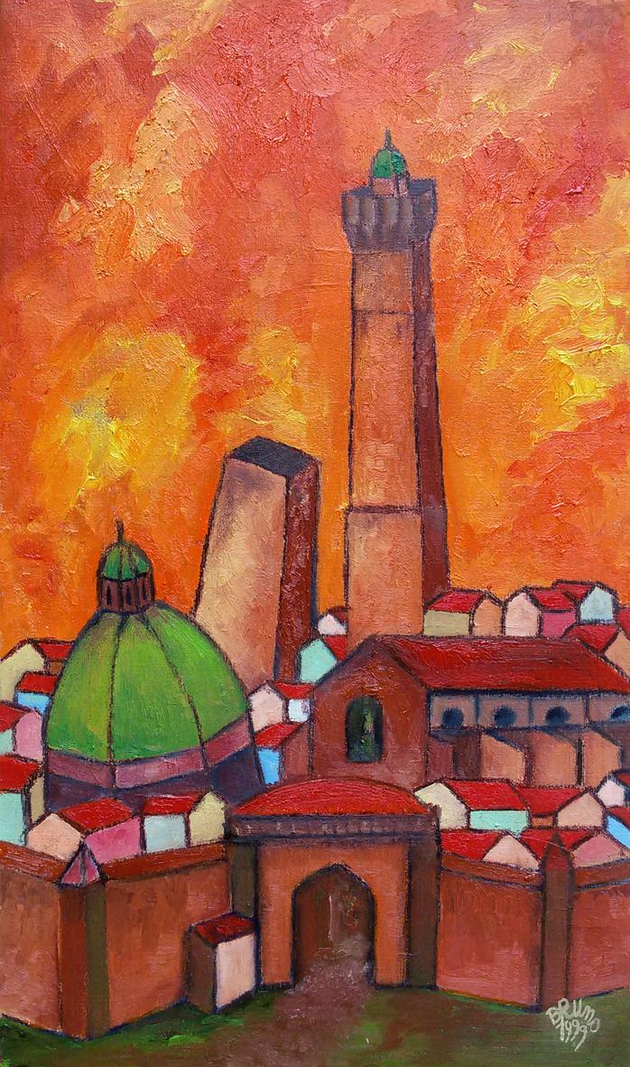 Bologna Soleggiata - Olio su Tela 27x46 - 1999
